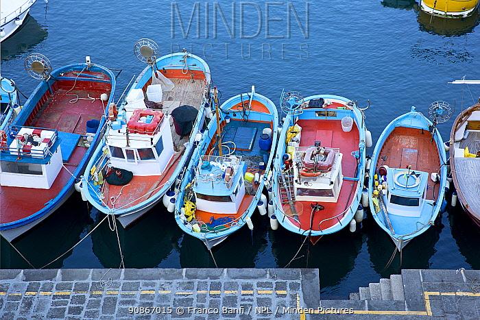 Fishing boats in the Marina della Lobra, harbour of Massa Lubrense, Penisola Sorrentina, Costa Amalfitana, Italy, Tyrrhenian Sea, Mediterranean. October
