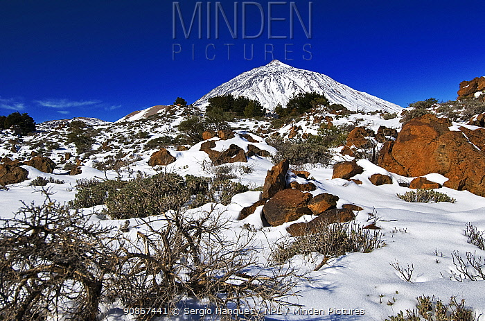 Mount Teide under snow, Teide National Park, World Heritage Site, Tenerife, Canary Islands.