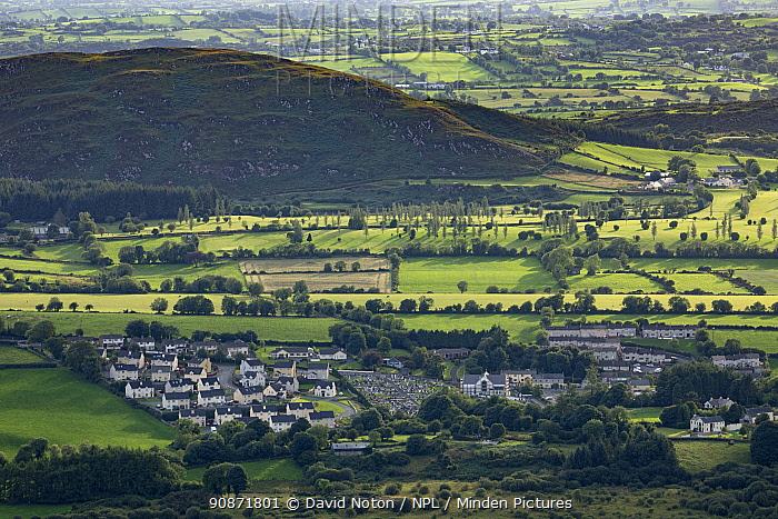 Mullaghbawn & the border country from Slieve Gullion, County Armagh, Northern Ireland. August 2018.