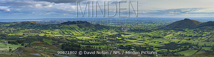 The border country and Ring of Gullion from Slieve Gullion, County Armagh, Northern Ireland. August 2018.