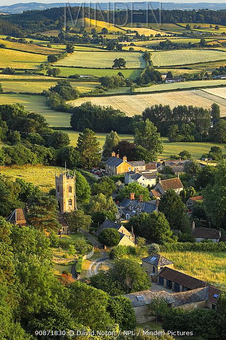 Corton Denham village on a summer's evening, Somerset, England, UK. July 2018.
