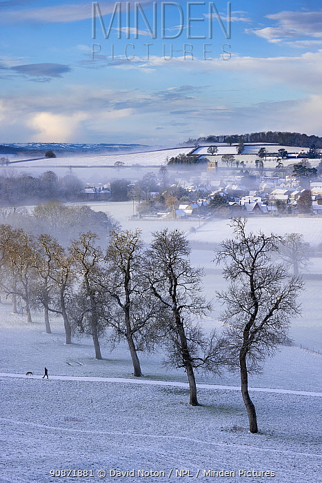 Milborne Port in the snow and the mist, Somerset, England, UK. January 2021.