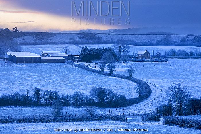 Kingsbury farm, Milborne Port in the snow, Somerset, England, UK. January 2019.