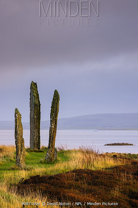 The Ring of Brodgar at dawn, Mainland, Orkney Isles, Scotland. October 2020.