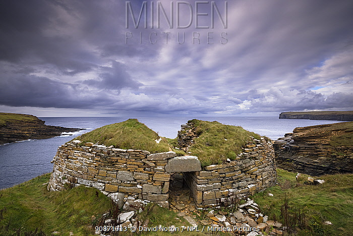 The Broch of Borwick, an Iron Age dwelling, west coast of Mainland, Orkney Isles, Scotland. October 2020.