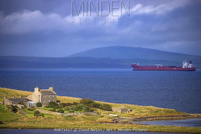 Tanker in Scapa Flow off Hoxa, South Ronaldsay, Orkney Isles, Scotland. October 2020.
