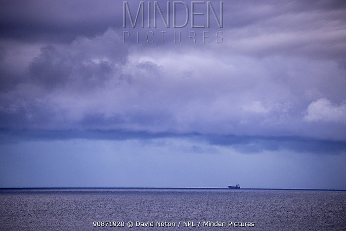 Tanker of South Ronaldsay heading for Scapa Flow, Orkney Isles, Scotland. October 2020.