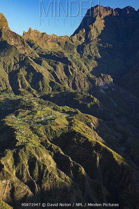 First light on Ilet a Cordes, Cirque de Cilaos, Reunion Island.