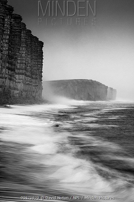 West Bay on a murky winter morning, Jurassic Coast, Dorset, England, UK. December 2020.