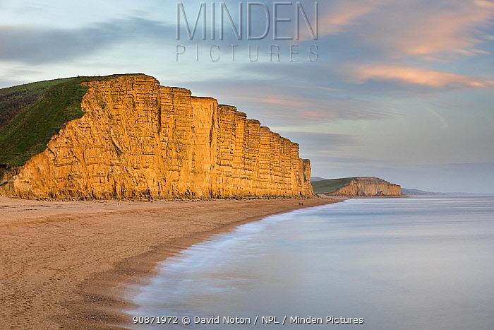East Cliffs, West Bay at dusk, the Jurassic Coast, Dorset, England, UK. January 2019.