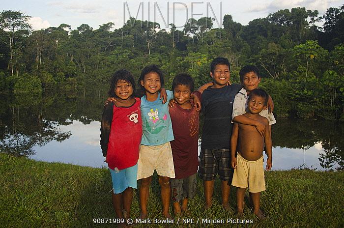 Local children from Maijuna Indigenous Community, Rainforest, Sucusari, Rio Napo, Loreto, Peru. January 2013.