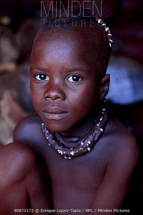 Portrait of young himba boy, Kaokoland, Namibia, September 2013.