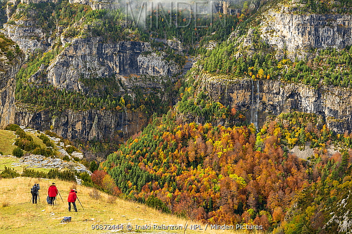 Photographers in Ordesa National Park, Autumm, Pyrenees, Aragon, Spain.