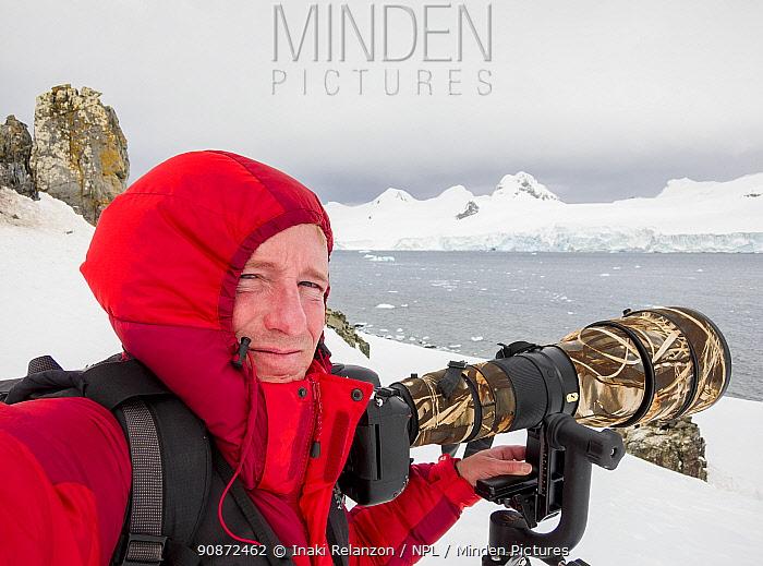 Self portrait of photographer Inaki Relanzon, Antarctica.