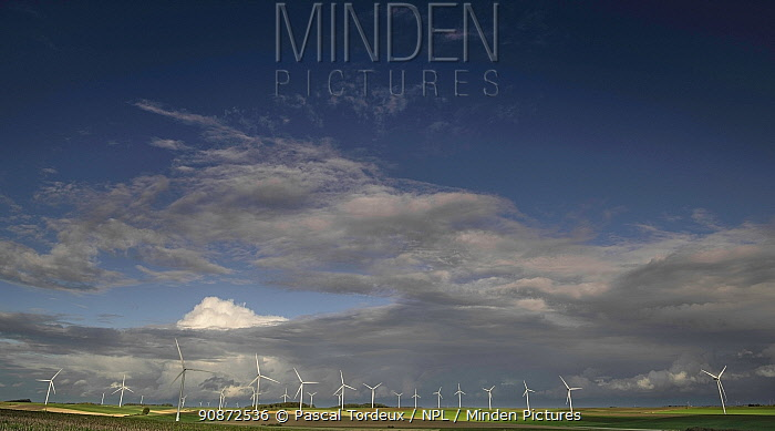 Wind turbines in field, Fieulaine, Aisne, Picardy, France, October 2020.