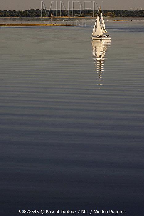 Sailboat on Lac du der, Haute Marne, France, September 2020.
