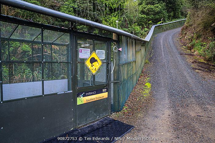 Southern Enclosure entrance (main access to walking tracks) with kiwi warning sign, Maungatautari Ecological Island Reserve, Waikato, North Island, New Zealand.