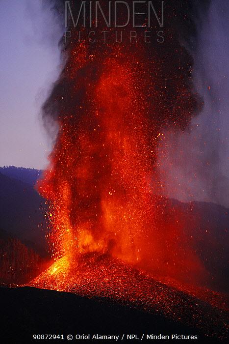 Cumbre Vieja volcano erupting at night, La Palma Island, Canary Islands, Spain, September 2021.
