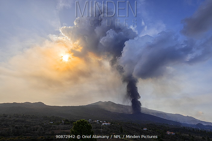 Strombolian eruption of Cumbre Vieja volcano, La Palma Island, Canary Islands, Spain, September 2021.