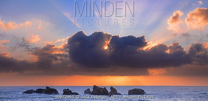 Oregon Coastal Seastacks at sunset off Face Rock State Scenic Viewpoint, Bandon, Oregon, USA.