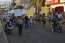 Protest for higher wages on May 14, 2008, Puerto Ayora, Santa Cruz Island, Galapagos Islands, Ecuador  -  Pete Oxford