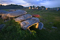 Dolmen tombs at dusk, Carnac, Brittany, France  -  Jim Brandenburg