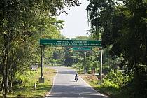 Wildlife road sign, Kaziranga National Park, India