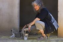 Laurie Marker with two Anatolian Shepherd (Canis familiaris) puppies, adults used to protect goat herds from cheetah attack, Cheetah Conservation Fund, Otijwarongo, Namibia  -  Suzi Eszterhas