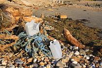 Fishing rubbish on beach at low tide, Bembridge, Isle of Wight, England, june  -  Marcus Webb/ FLPA