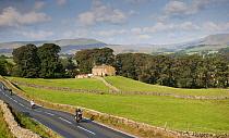 Motorcyclists on rural road speeding and doing wheelie, Hawes, Wensleydale, Yorkshire Dales National Park, North Yorkshire, England, September  -  Wayne Hutchinson/ FLPA
