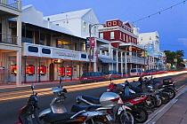 Shops and motorbikes along Hamilton's main street, Front Street, Hamilton, Bermuda 2009  -  Gavin Hellier/ npl