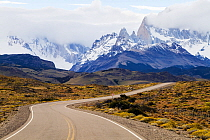 Route 40 in the Patagonian steppe, Argentina, approaching El Chalten and the Fitzroy Mountains, January 2014.
