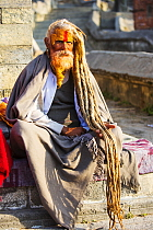 Sadhu or Hindu holy man in Kathmandu, Nepal. Sadhus are men who have renounced all material attachments to concentrate on their spirituality. January 2013.