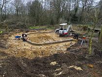 Preparatory work for construction of educational dipping pond, Blashford Lakes Nature Reserve. Hampshire and Isle of Wight Wildlife Trust Reserve, Ellingham, near Ringwood, Hampshire, England, UK, Feb...
