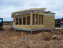 Construction of new Tern Hide beside Ibsley Water, Blashford Lakes Nature Reserve/ Hampshire and Isle of Wight Wildlife Trust Reserve, Ellingham, near Ringwood, Hampshire, England, UK, March 2019